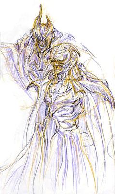 2009.3.14 画材:鉛筆 陰陽の陰の世界の支配者。手前が宰相的な奴として描いてますが「アポがない方はお通し出来ませんよ」て感じがするから秘書かも!