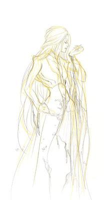 2009.10.1 画材:鉛筆 珍しく女性を描いていますが……流産でしょうか…どういう心理状態で描いたのか覚えていませんが、良くはないでしょう…