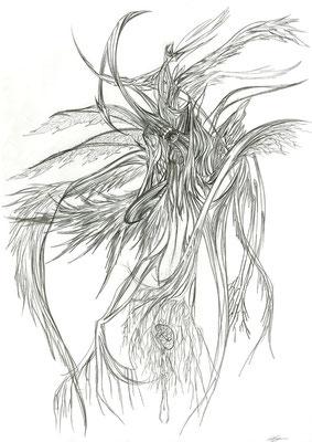 2013.3.19 画材:鉛筆  意識化する為の潜在意識の描写。カウンセリングの自由画というやつです。人生で数えるくらいの…酷く精神的に苦しんでる時の精神状態です。描いてる時は気持ちがいいんですが、見る分にはキツイ…。描き終えた後、これは自己救済しないとヤバいと自覚しました。