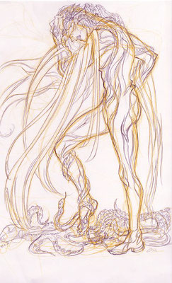 2009.11.26 画材:鉛筆 俗物的な性的欲望の概念への嫌悪感と怒りと苦しみ。腕や足に蛇が絡む絵をこの時期何枚か描いてます。
