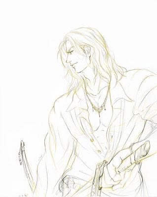 2010.2.18 画材:鉛筆 長髪の男性を結構よく描いてます。
