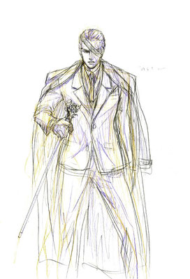 2009.4.5 画材:鉛筆 この眼帯スタイルは「山猫」のアランドロンです。あんな美しい男性が描けたら満足なんですが…