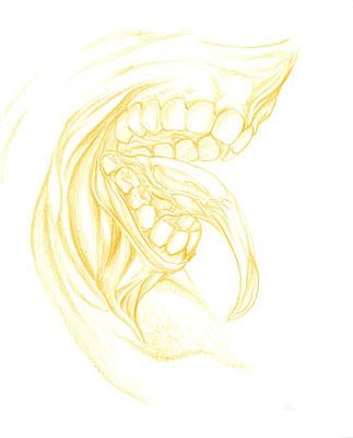 2009.9. 画材:色鉛筆 喜んでますねぇ~餌の時間でしょうか。こういうクリーチャーを描くと心が満たされます!