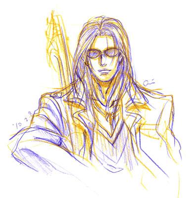2010.2.8 画材:鉛筆 よく描く人です。ギターもちゃんと描かなくっちゃ…