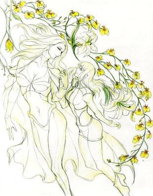 2011.06 Emma&Hisako エマと久子 DVD3巻ジャケットで好きに描いたらNGでした。でもNGの理由はテンションがアクション作品に合わないという理由。百合に限らず同性愛至上主義です。ムサさんの美麗なお花見たかったのになぁ~