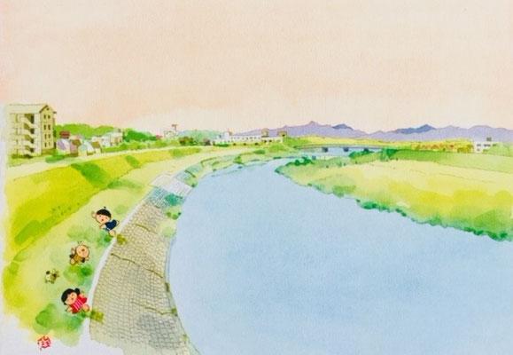 絵はがき「入間川の風景」狭山市産業労働センター