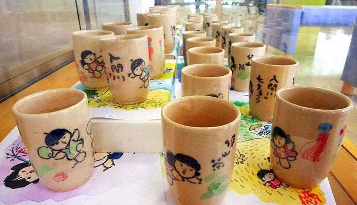 池原昭治手描きの益子焼湯飲み茶わん