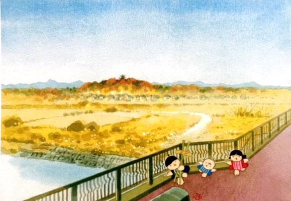 池原昭治「入間川の風景」絵はがき・狭山市産労センター