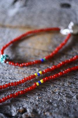 antique white heart beaded bead necklace , bracelet