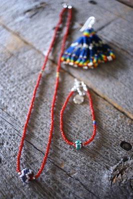 antique white heart beaded bead necklace , bracelet fringe pierce