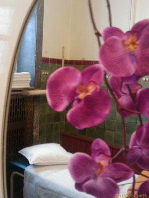 Detail einer aktivierten Badezelle des Sprudelhofs, Foto: Beatrix van Ooyen