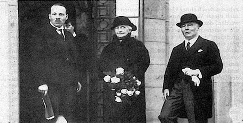 Einweihung des William G. Kerckhoff-Instituts mit Witwe Louise Kerckhoff im Herbst 1931; rechts: Franz Grödel, der auf zum Direktor des Instituts ernannt wurde