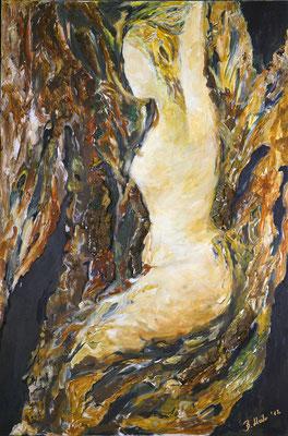 Daphne-Metamorphose 2 von Barbara Meiler, 80 x 120 cm, Preis auf Anfrage Mischtechnik auf Leinwand