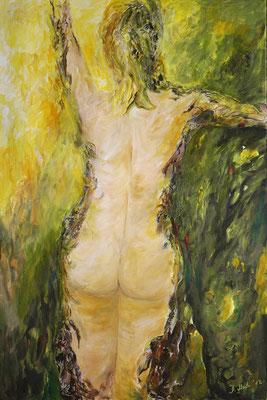 Daphne-Metamorphose 3 von Barbara Meiler, 80 x 120 cm, Preis auf Anfrage, Mischtechnik auf Leinwand