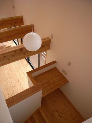 階段途中のデスクコーナー。