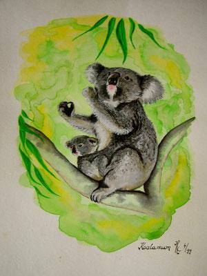 watercolour - `Koala Mum´
