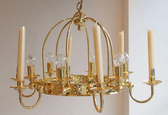 """Hängelampe """"Jahreskranz mit Krone"""" 6 Brennstellen elektrisch und 6 Brennstellen Kerze, auch als 4er oder 8er erhältlich"""
