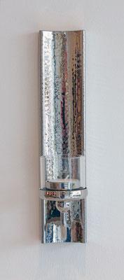 """Wandleuchter """"Feder"""" mit Teelicht Maße 28x6 cm in Messing vernickelt"""