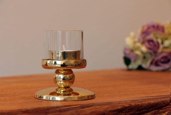 """Windlicht """"klein"""" Höhe mit Glas 9 cm, Fuß Durchmesser  8,5 cm"""
