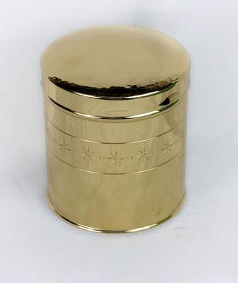 Dose mit Deckel ohne Abschluss, von innen verzinnt, für Kaffe, Tee geeignet Höhe 14 cm, Durchmesser 12 cm