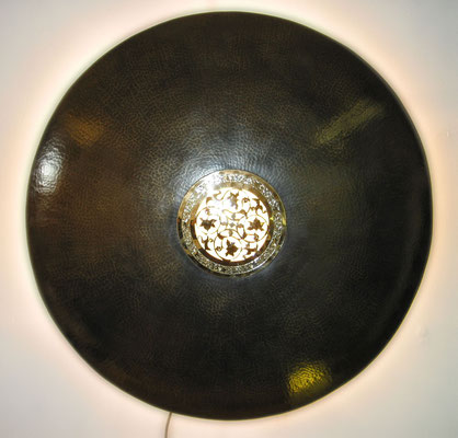"""Wandlampe """"Oriental"""" Messing brüniert,  innen Hochglanz ( Durchmesser 35-75 cm)"""