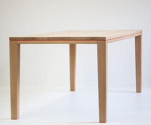 TischTisch Esstisch Schreibtisch R10 Linoleum Eiche Massivholz weiß geölt Fuge rot lackiert Pistorius Berlin