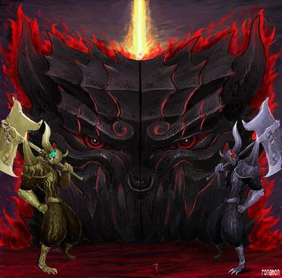 地獄の門 門番の金角 銀角 (牛頭馬頭)