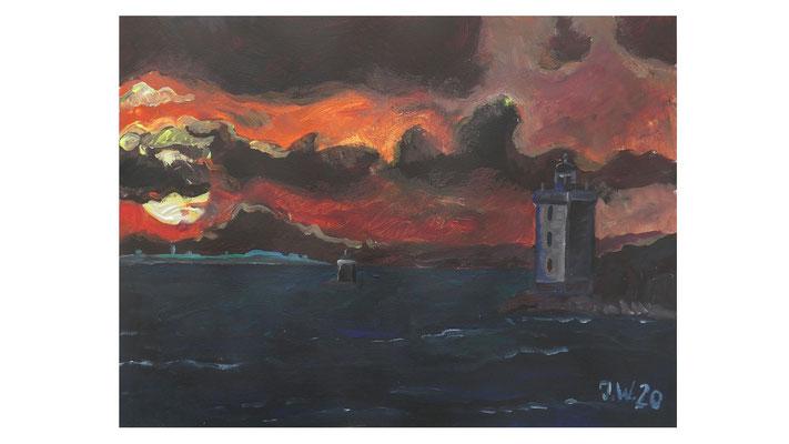Le Conquet, Sonnenuntergang am Leuchtturm