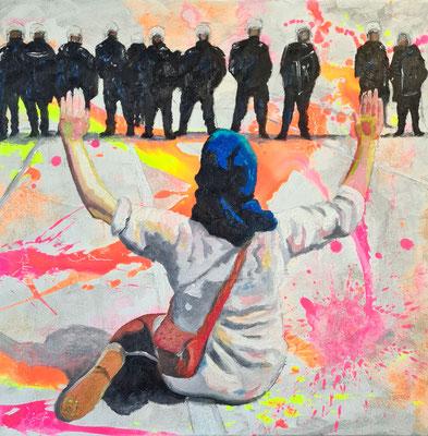 Sitzstreik 50 x 50 auf Leinwand Ölfarbe auf Acryl