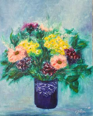 Blumenstrauß - Ölfarbe auf Leinwand 40 x 50 cm - Mindestgebot 75 Euro