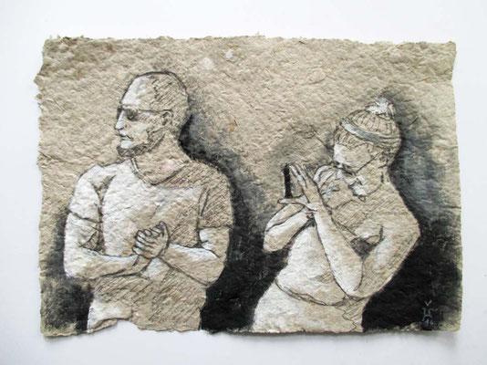 Im Fokus  Colorierte Zeichnung auf selbstgeschöpftem Papier 21 x 30 cm 2016  zwischen zwei Glasscheiben schwebend in einem weißen Rahmen - Anfangsgebot 60 Euro