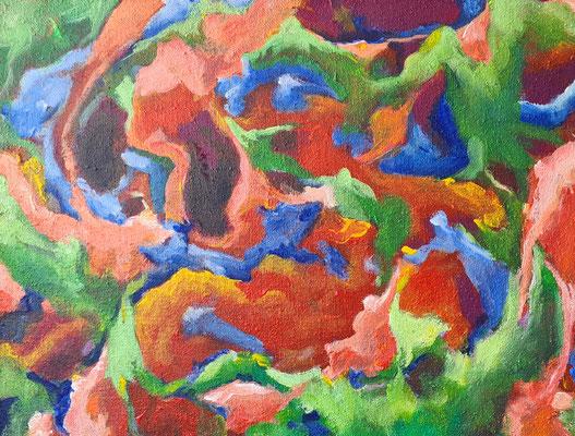 Flora - Acrylfarbe auf grober Sackleinen 80 x 60