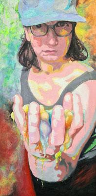 Farbe I  80 x 40 x 2 cm   Ol- auf Acrylfarbe auf Leinwand
