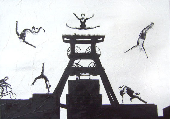 Sprung über Zollverein 2012  Acryl und Öl auf Leinwand 70 x 100 cm - Anfangsgebot 120 Euro