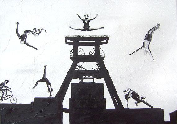 Sprung über Zollverein 2012  Acryl und Öl auf Leinwand 70 x 100 cm - Anfangsgebot 100 Euro
