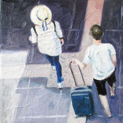 2 mit Hut  34 x 34 cm mit weißem Schattenfugenrahmen
