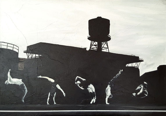 Jahrhunderthalle 2012 Acrylfarbe und Ölf. a. Leinw.  70 x 100 cm - Anfangsgebot 120 Euro