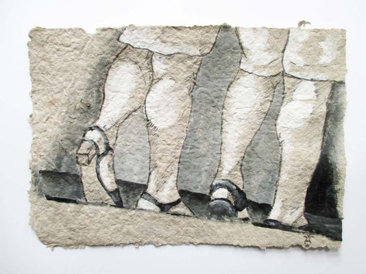Wadeln  Colorierte Zeichnung auf selbstgeschöpftem Papier 21 x 30 cm 2016   zwischen zwei Glasscheiben schwebend in einem weißen Rahmen- Anfangsgebot 60 Euro