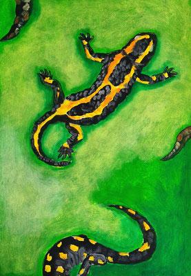 Salamander - Acrylfarbe auf Papier 40,5 x 28 - Mindestgebot 40 Euro