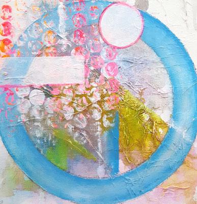 Blauer Kreis 15 x 15 cm Aryl auf Malkarton mit einer 10 x 10 cm Leinwand hinterlegt (schwebende Hängung)