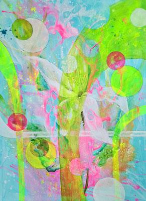 Florale Komposition auf Passepartoutkarton 60 x 80 im 60 x 80 cm Alurahmen (gebürstet)