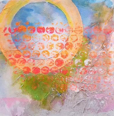 Oranger Kreis 15 x 15 cm Aryl auf Malkarton mit einer 10 x 10 cm Leinwand hinterlegt (schwebende Hängung)