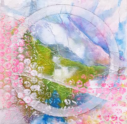 Pinke Berge 20 x 20 cm Acryl auf Leinwnd