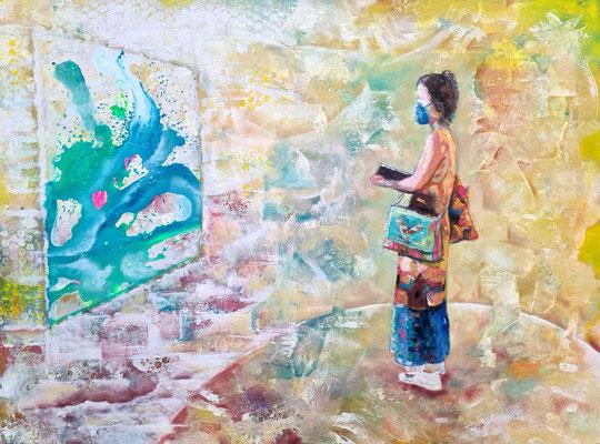 Schreibende 60 x80 cm 11.2020  Acryl und Ölfarbe auf Lwd