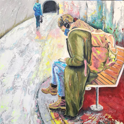 Waiting 50 x 50 cm Acryl und Ölfarbe auf Leinwand 11.12.2020