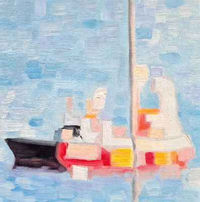 Mini: Little red boat on a blue lake 15 x 15 cm  20.03.2021 Oil on cardboard