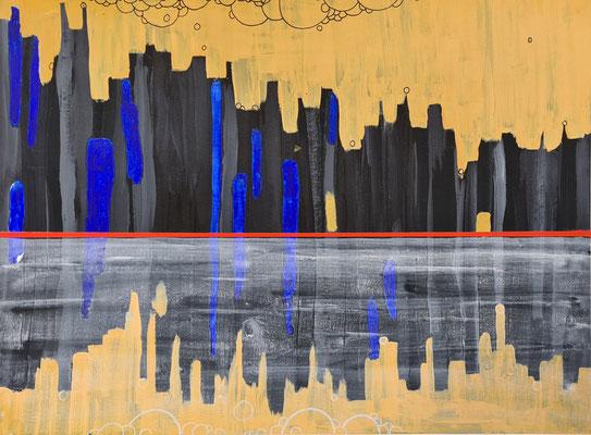 Skyline - Acrylfarbe auf Papier 34 x 46,5- Mindestgebot 40 Euro