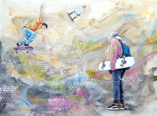 Whiteboard  60 x 80 cm 02.11.2020  Acryl und Ölfarbe auf Lwd
