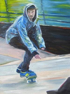 Skater  80 x 60 cm Ölfarbe auf Leinwand - Anfangsgebot  80 Euro