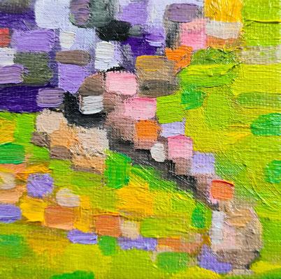 Mini Mini: Sitting on a park bensch with a purple skirt 7,5 x 7,5 cm Oil on a cardboard